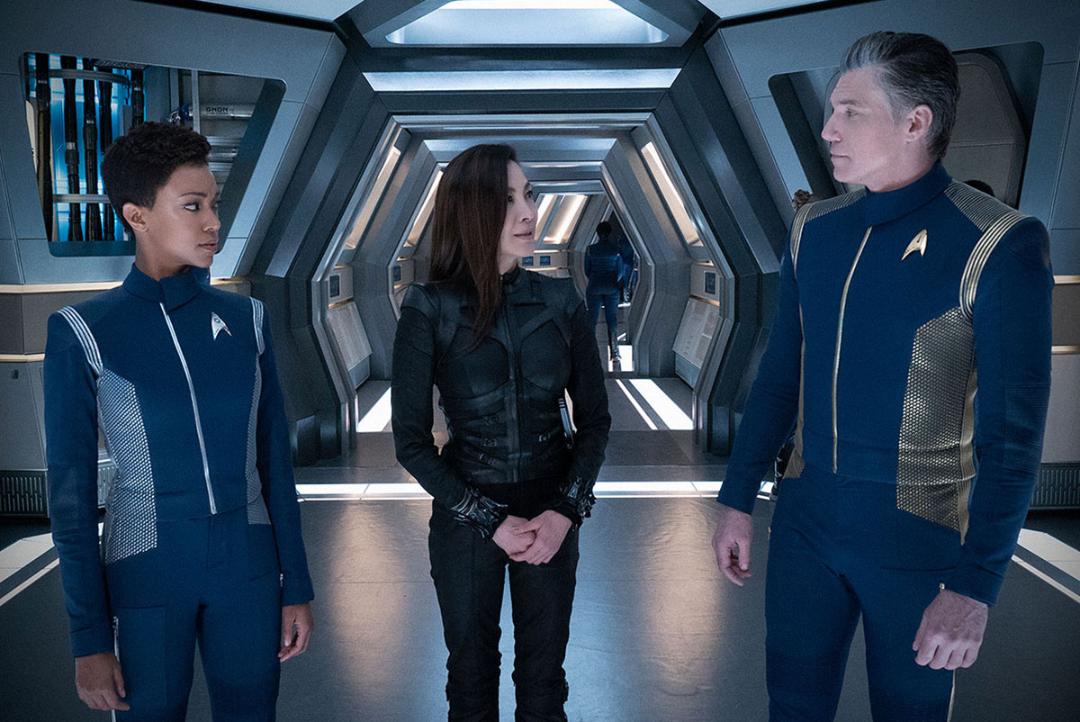 Sonequa Martin-Green as Michael Burnham, Michelle Yeoh as Philippa Georgiou and Anson Mount as Christopher Pike