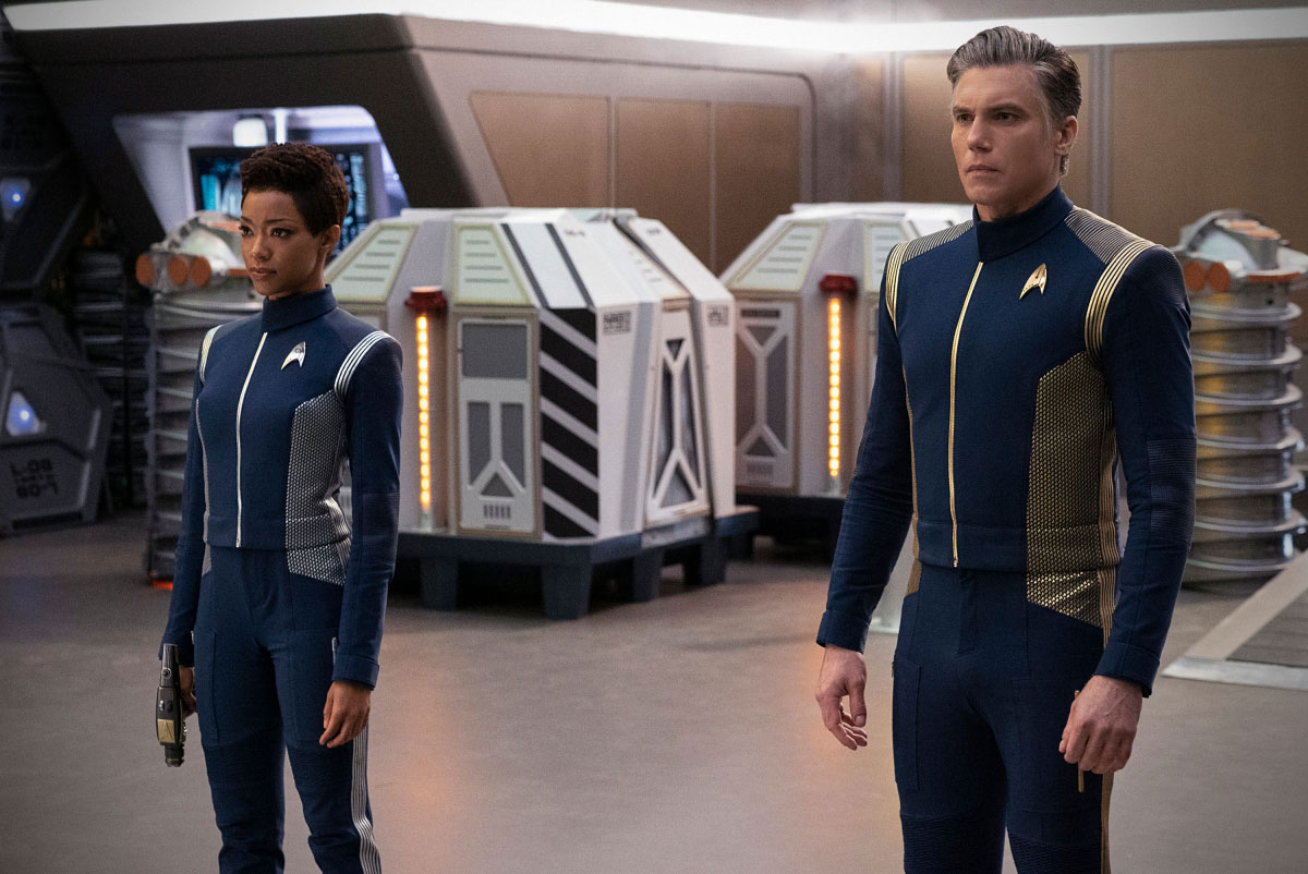 Sonequa Martin-Green as Michael Burnham and Anson Mount as Christopher Pike