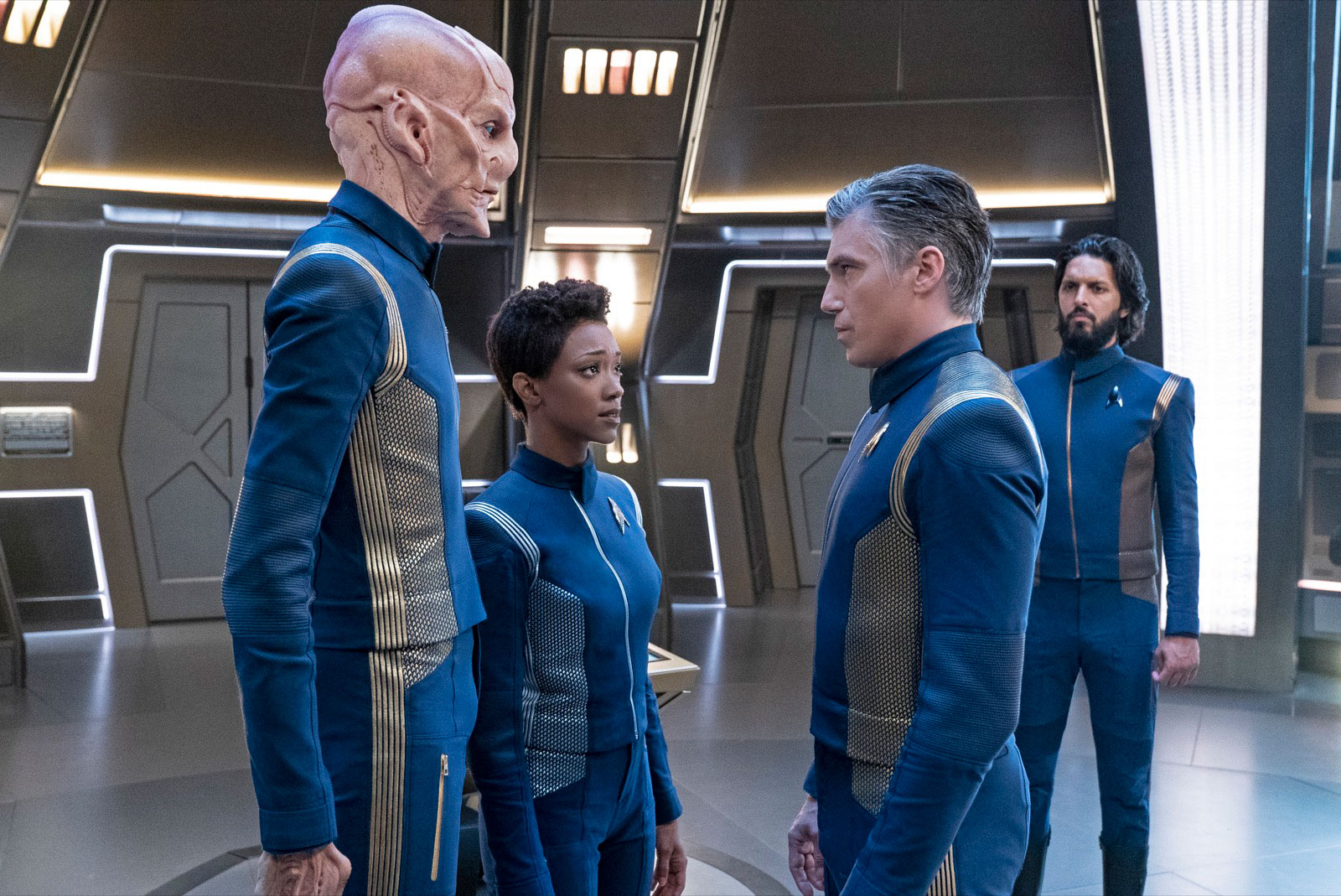Doug Jones as Saru, Sonequa Martin-Green as Michael Burnham, Anson Mount as Christopher Pike and Shazad Latif as Ash Tyler