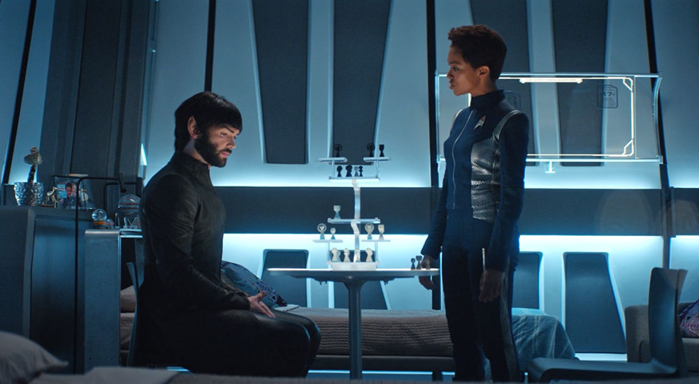 Ethan Peck as Spock and Soniqua Martin-Green as Michael Burnham