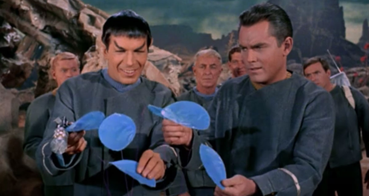 Leonard Nimoy as Spock and Jeffrey Hunter as Captain Christopher Pike