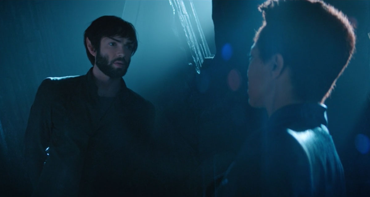 Ethan Peck as Spock and Sonequa Martin-Green as Michael Burnham