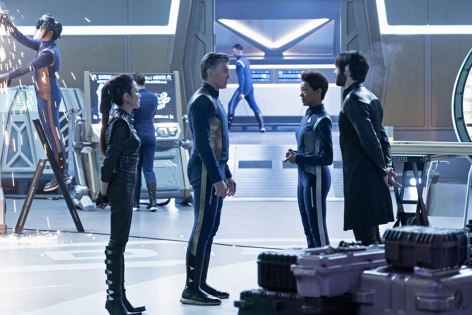 Michelle Yeoh as Philippa Georgiou, Anson Mount as Captain Christopher Pike, Sonequa Martin-Green as Michael Burnham and Ethan Peck as Spock
