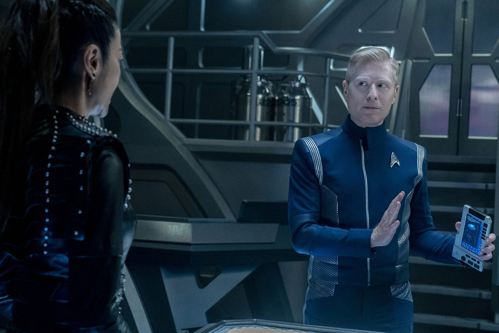 Michelle Yeoh as Philippa Georgiou and Anthony Rapp as Paul Stamets