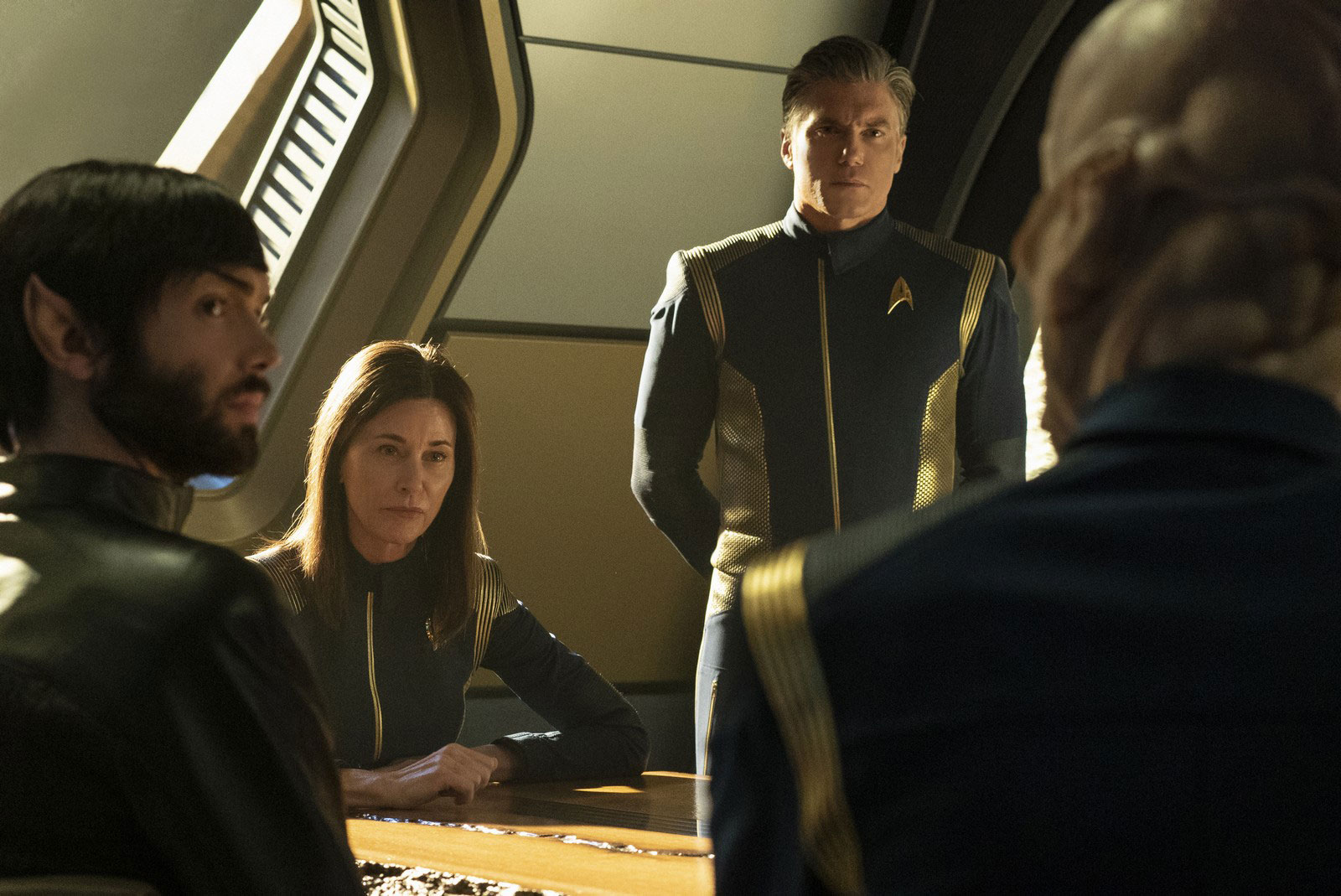 Jayne Brook as Admiral Katrina Cornwell and Anson Mount as Captain Christopher Pike