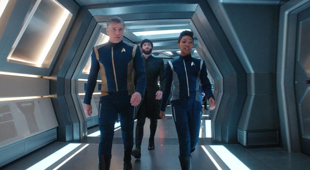 Anson Mount as Pike, Ethan Peck as Spock and Sonequa Martin-Green as Burnham