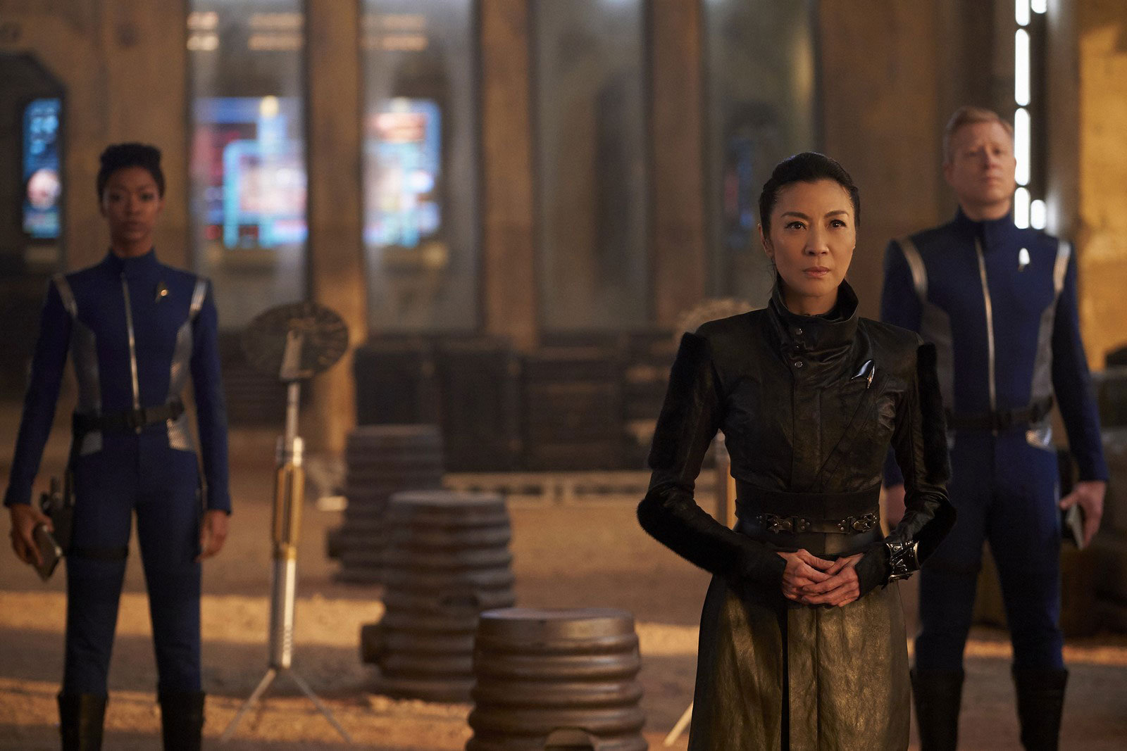 Sonequa Martin-Green as Michael Burnham, Michelle Yeoh as Philippa Georgiou and Anthony Rapp as Paul Stamets