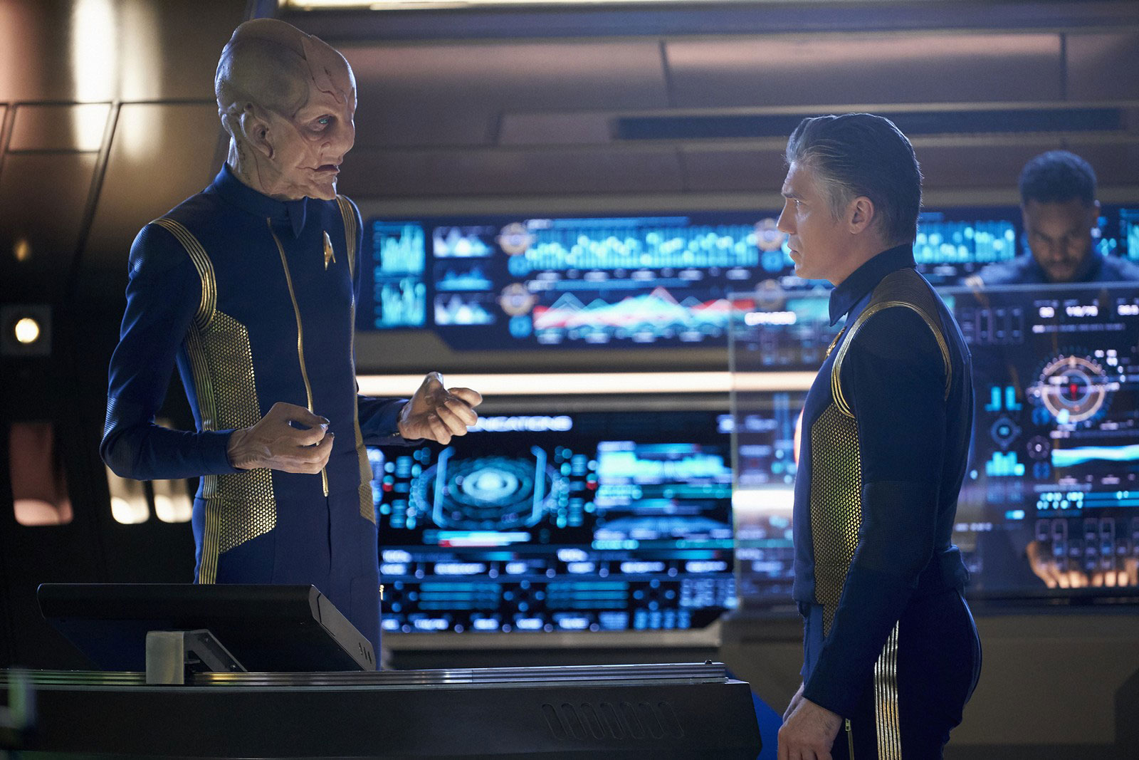 Doug Jones as Saru and Anson Mount as Captain Christopher Pike