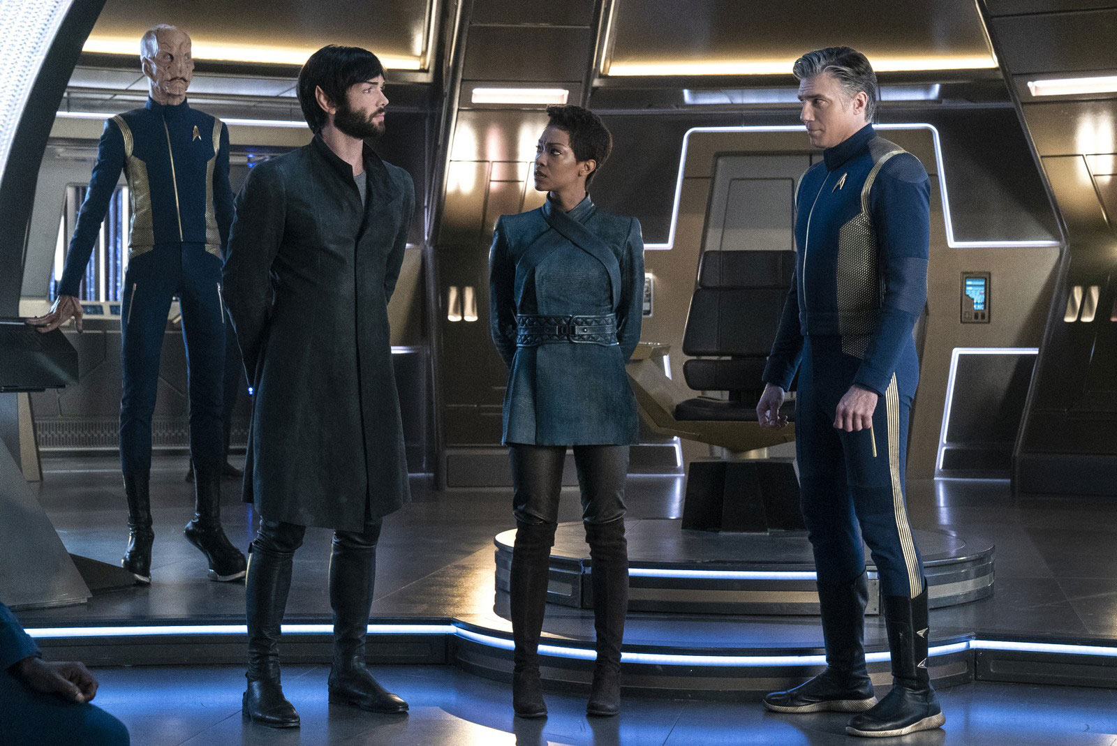 Doug Jones as Saru, Ethan Peck as Spock, Sonequa Martin-Green as Michael Burnham and Anson Mount Christopher Pike