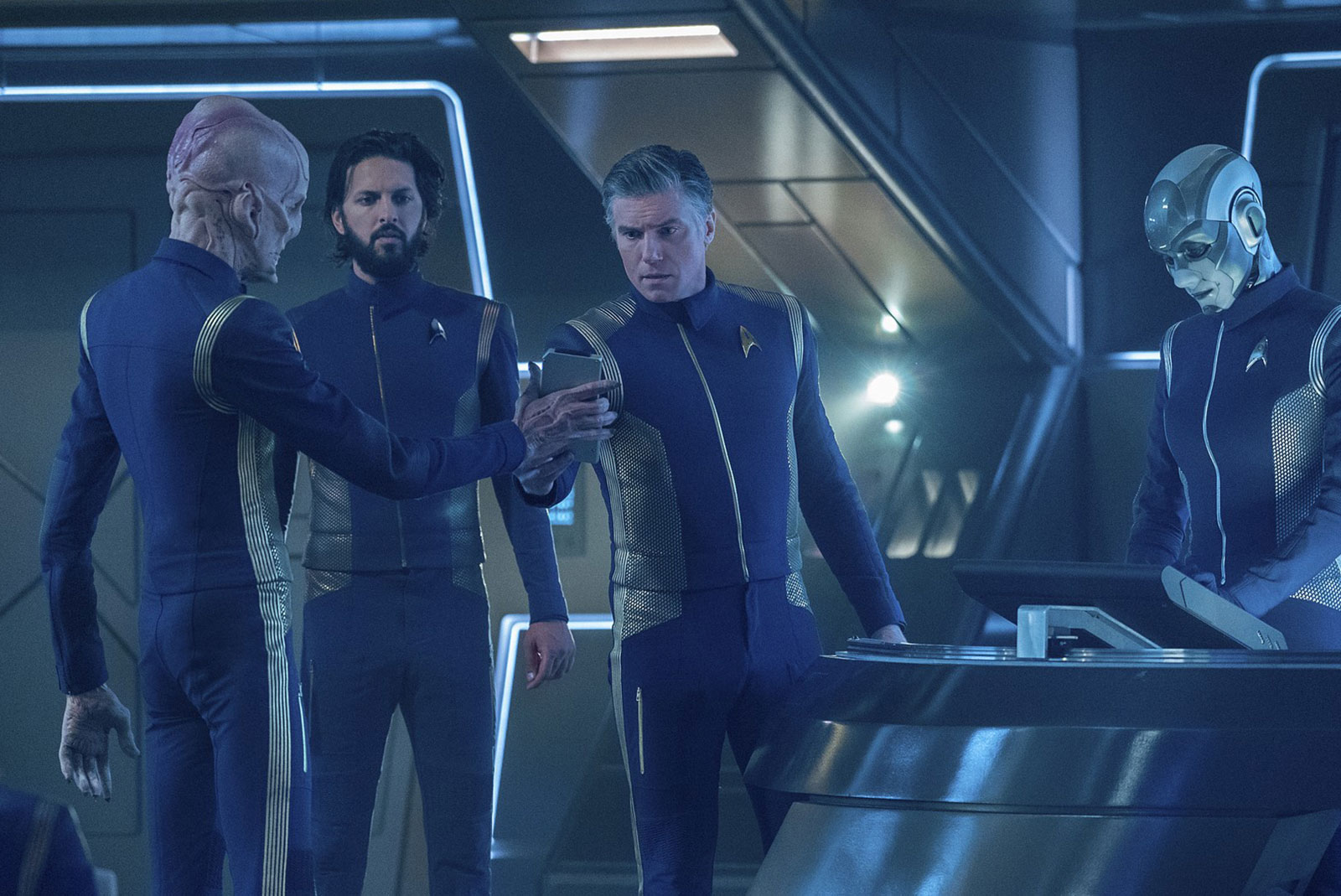 Doug Jones as Saru,  Shazad Latif as Ash Tyler and Anson Mount as Christopher Pike