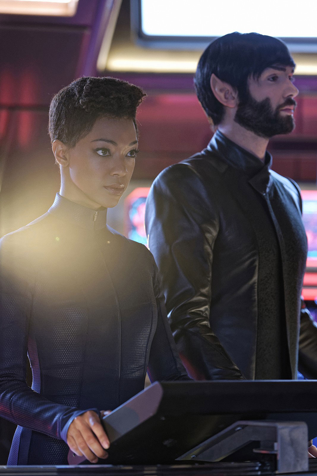 Sonequa Martin-Green as Michael Burnham and Ethan Peck as Spock