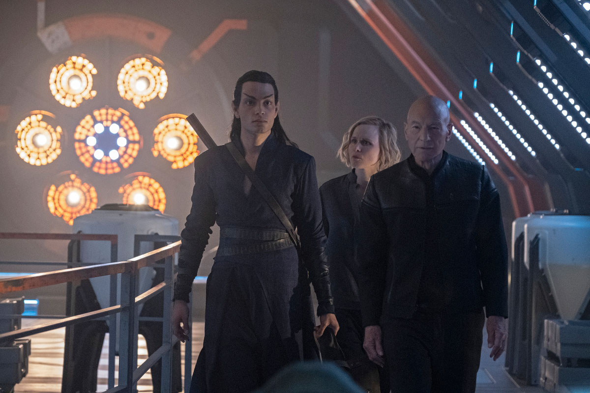 Evan Evagora as Elnor, Alison Pill as Dr. Jurati and Patrick Stewart as Jean-Luc Picard