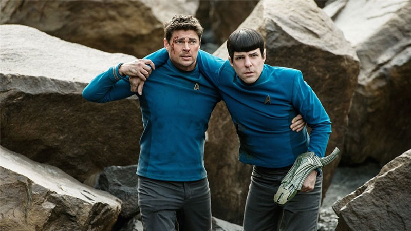 "Karl Urban as ""Bones"" and Zachary Quinto as ""Spock"" in 2016's Star Trek Beyond"
