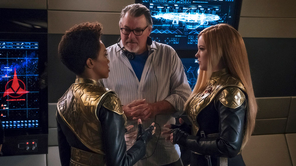 Frakes, along with Sonequa Martin-Green and Mary Wiseman on the set of Star Trek: Discovery