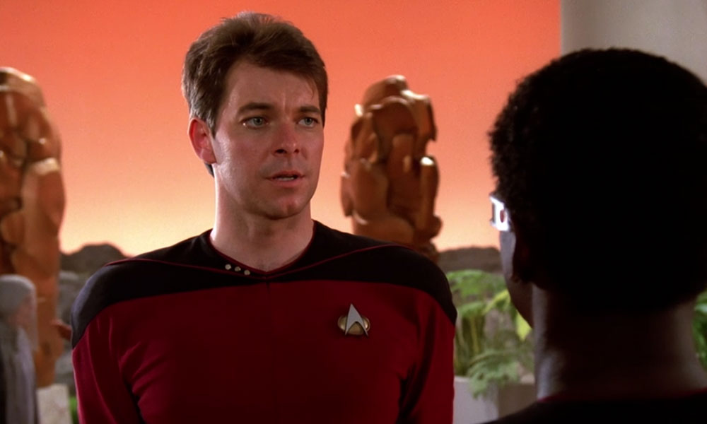 "Frakes as Cmdr. William Riker in the Star Trek: The Next Generation premiere ""Encounter at Farpoint"""