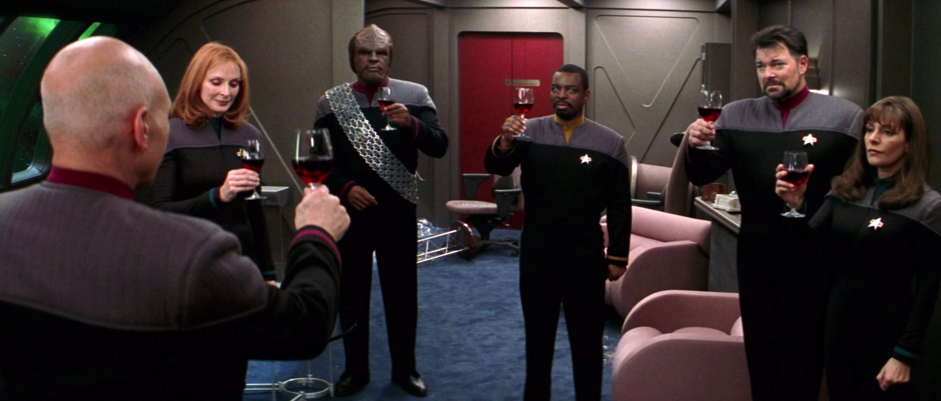 """To absent friends."" Picard leads a toast after Data sacrifices himself in Star Trek: Nemesis"