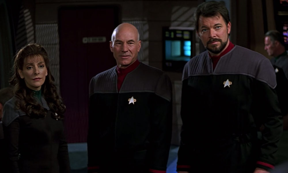 Marina Sirtis, Patrick Stewart and Jonathan Frakes in Star Trek: First Contact