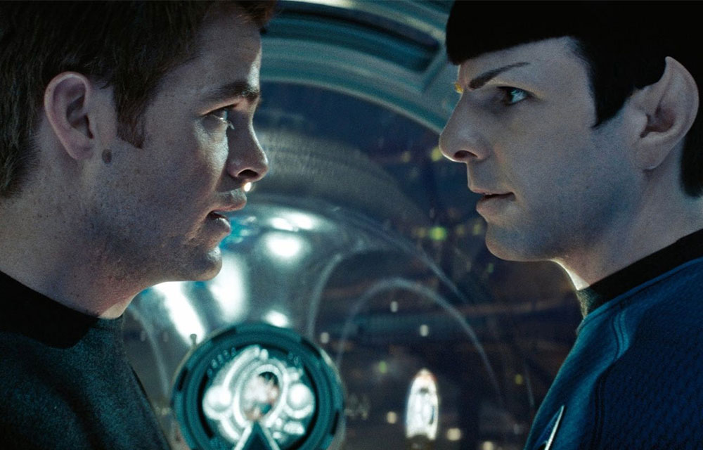 Chris Pine as Kirk and Zachary Quinto as Spock in Star Trek 2009