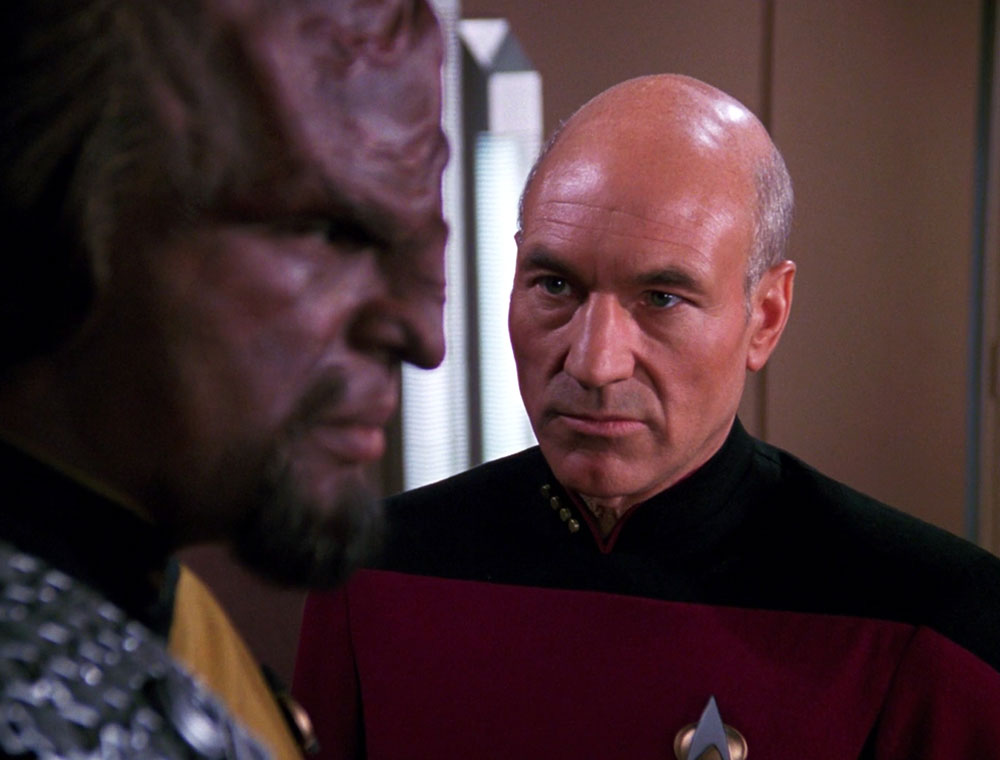Dorn as Worf with Patrick Stewart as Jean-Luc Picard