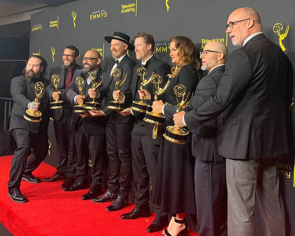 Discovery's makeup department with their newly-won Emmy Awards