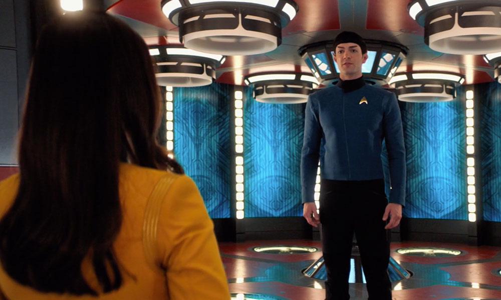 "Rebecca Romijn as Number One and Ethan Peck as Spock in Star Trek: Short Treks ""Q&A"""