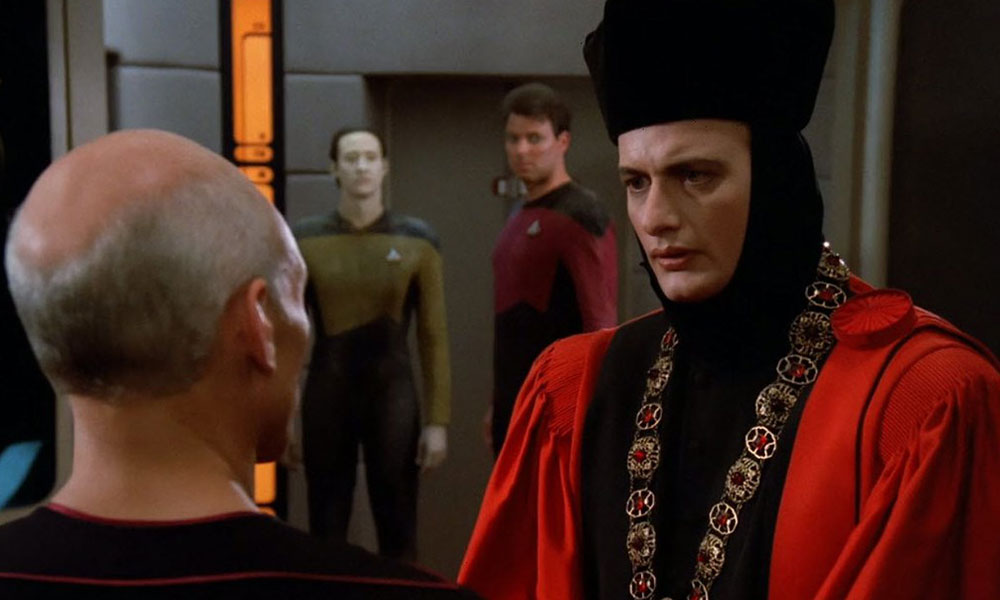 "A scene from the TNG pilot ""Encounter at Farpoint"" which was co-written by Fontana"