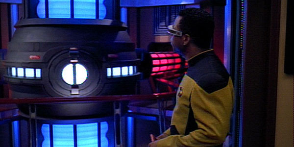 Geordi LaForge inspects the warp core