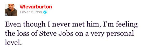 LeVar Burton on Steve Jobs' death