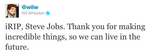 Wil Wheaton on Steve Jobs' death