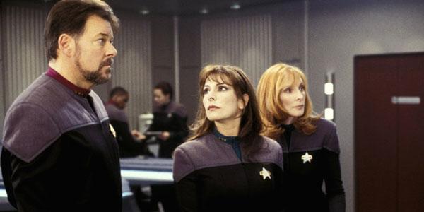 Marina Sirtis, Jonathan Frakes and Gates McFadden filming Star Trek: Nemesis