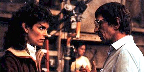 Robin Curtis and Leonard Nimoy on the set of Star Trek III: The Search for Spock