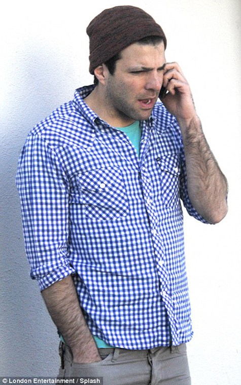 Zachary Quinto sports shaved eyebrows as the prepares to get into the role of Spock