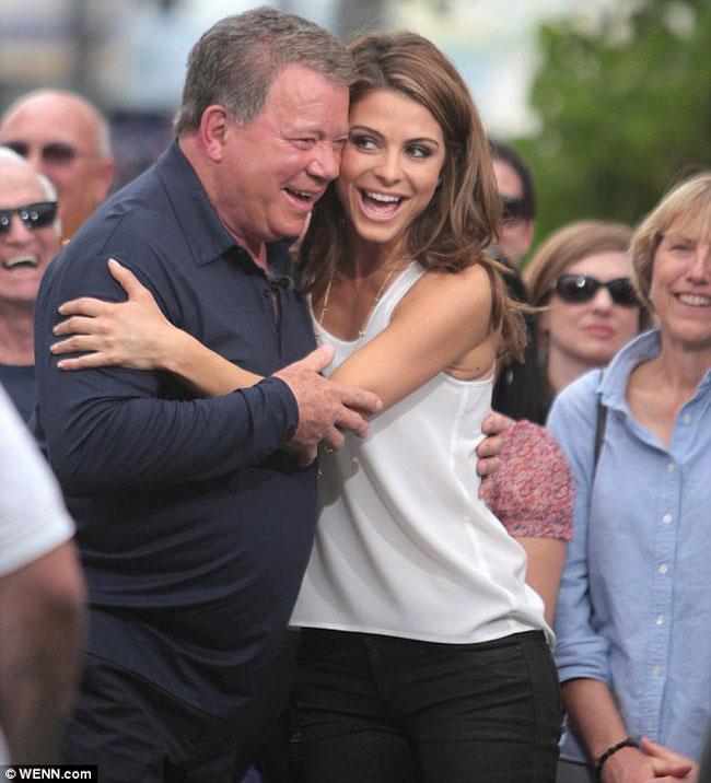 William Shatner Locks Lips With Maria Menounos