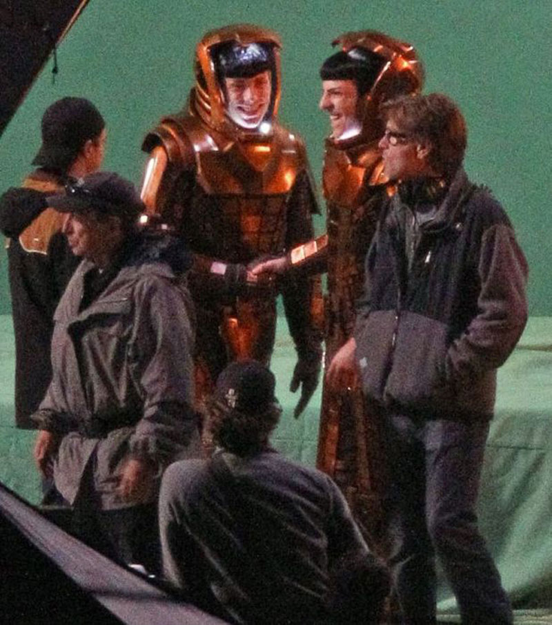 Zachary Quinto on set filming next summer's Star Trek sequel