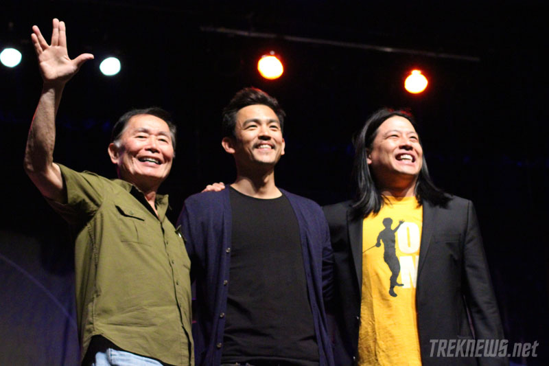 Takei on stage with John Cho and Garrett Wang at the 2011 Las Vegas Star Trek Convention