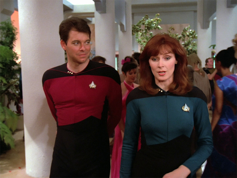 "Jonathan Frakes along with TNG co-star Gates McFadden from the pilot episode ""Encounter at Farpoint"""