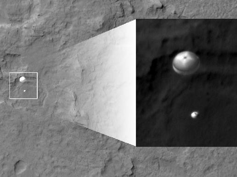 Curiosity Descending onto the surface of Mars