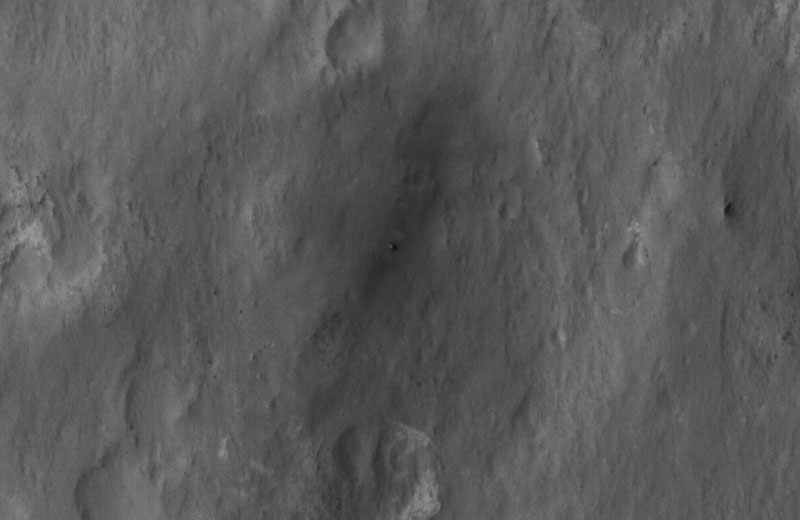 Curiosity from the Mars Reconnaissance Orbiter's HiRISE camera