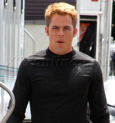 Chris Pine on the set of Star Trek Into Darkness