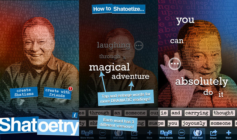 Screenshots from the Shatoetry iPhone app