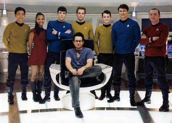J.J. Abrams with the cast of Star Trek (2009)
