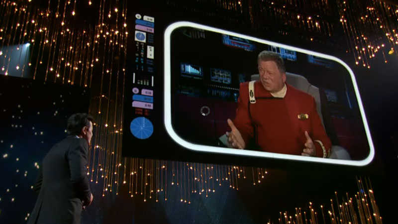 Shatner as Kirk talks to Oscar host Seth MacFarlane