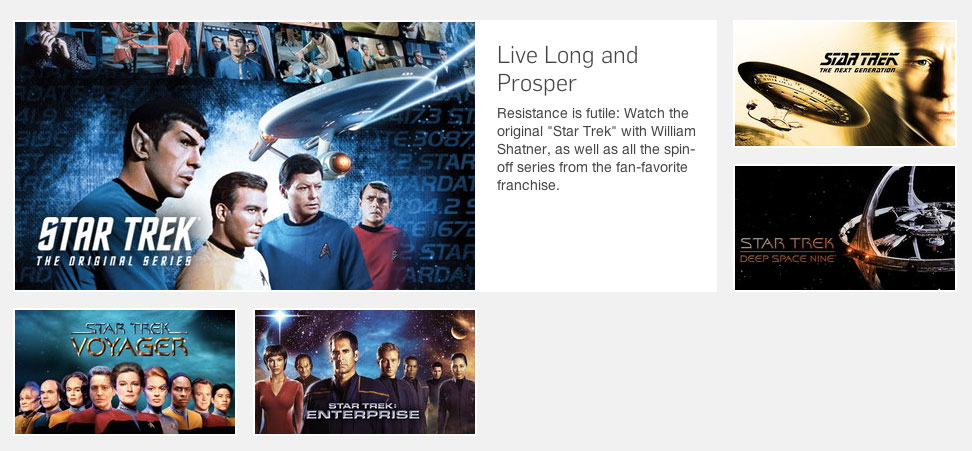Star Trek category page on Hulu