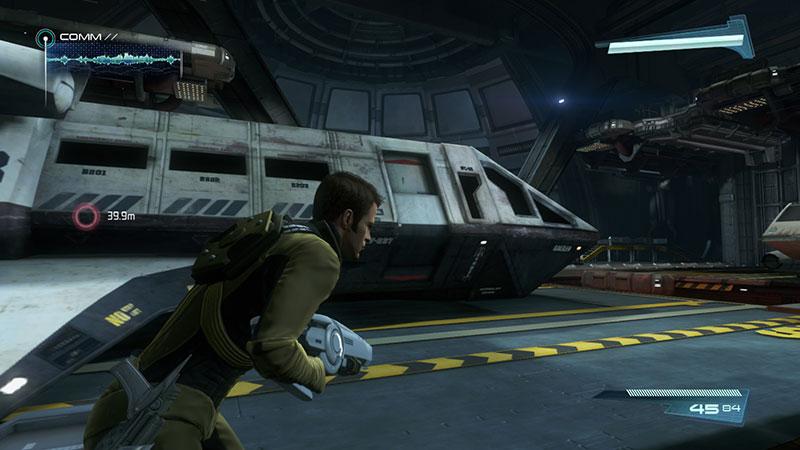 Kirk in a shuttle bay