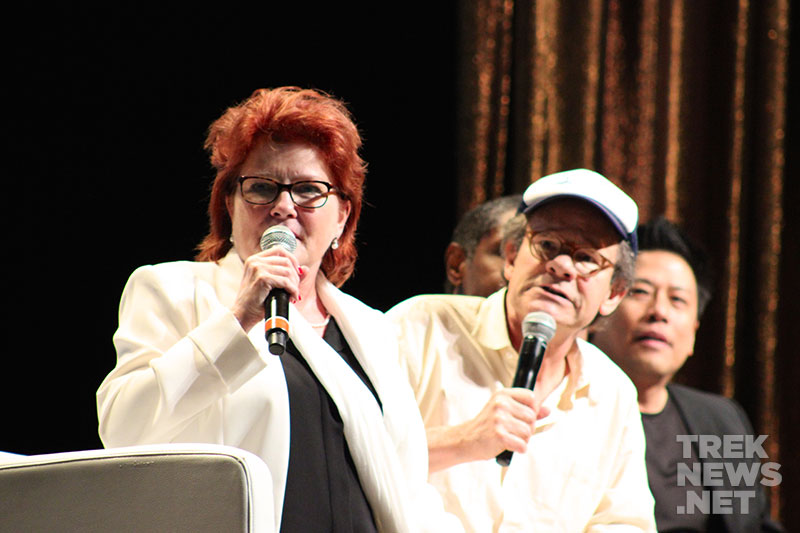 Kate Mulgrew, Ethan Phillips, Tim Russ and Garrett Wang