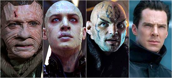 (from left to right) Ru'afo from Insurrection, Shinzon from Nemesis, Nero from Star Trek '09, and John Harrison / Khan from Into Darkness