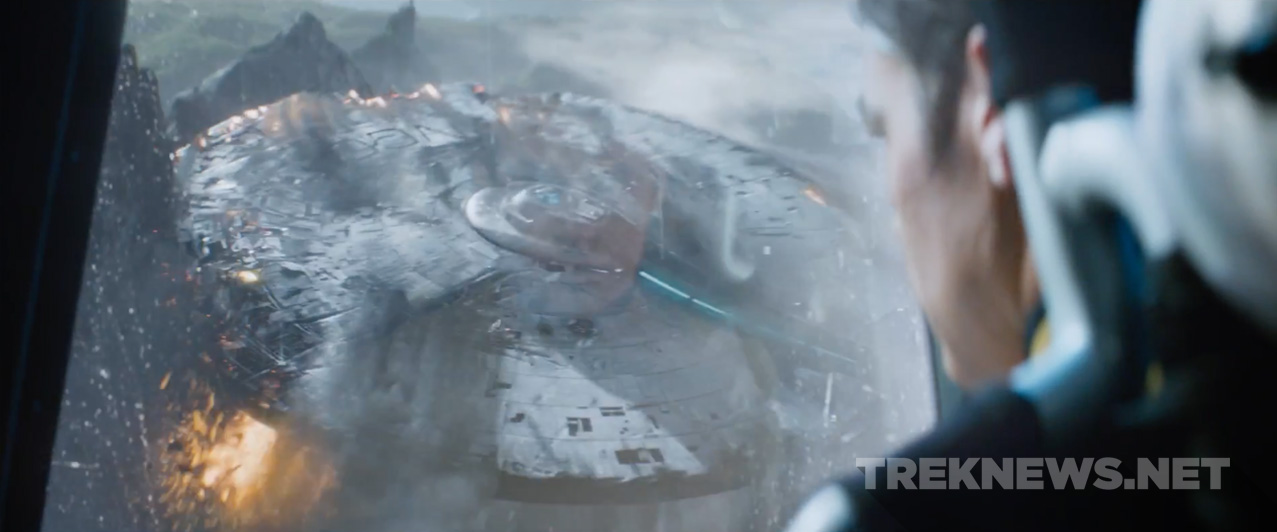Kirk watches on as the Enterprise is destroyed.