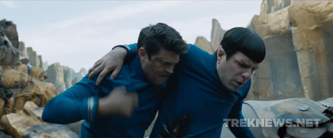 Bones lends Spock a helping hand.