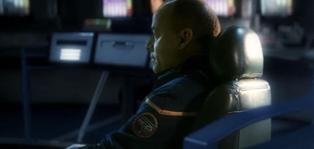 Captain Hawke on the bridge