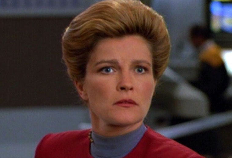 Mulgrew as Captain Janeway on Star Trek: Voyager